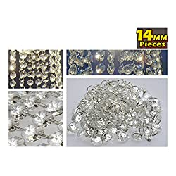 100 CHANDELIER LIGHT CRYSTALS DROPLETS GLASS BEAD WEDDING DROPS 14MM PRISM PARTS US SELLER