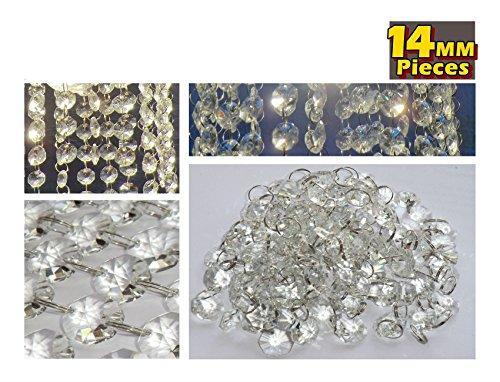 100 CHANDELIER LIGHT CRYSTALS DROPLETS GLASS BEAD WEDDING DROPS 14MM PRISM PARTS US SELLER