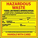 National Marker Corp. HW10 Labels, Hazardous Waste, 6 Inch X 6 Inch, PS Paper, 500/Rl