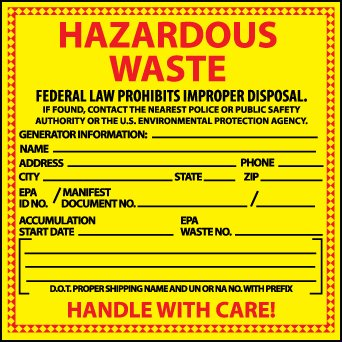 National Marker Corp. HW16 Hazardous Waste California Hazmat Label by National Marker