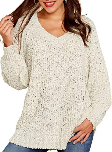Womens Knitted Sweater Plus Size 2019 Split Long Sleeve Loose V Neck Tops Pullover Sweater Oversized