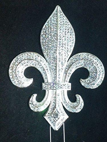 (Large Rhinestone Silver Fleur De Lis Mardi Gras Saints Cake Topper Decoration )