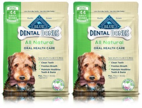 Blue Buffalo Mini Blue Bones Natural Dog Dental Chews, 27 Oz (2 Pack)
