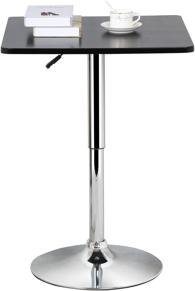 Blanc eSituro SBST0095 Table de Bar r/églable en Hauteur Table Haute carr/ée Plateau en MDF