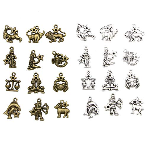 Monrocco 4 Sets (48pcs) Alloy 12 Zodiac Signs Twelve Constellation Symbol Lucky Charm Pendant for DIY Jewelry Making, Antique Silver&Bronze