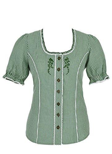 Spieth & Wensky - Karierte Damen Trachten Bluse in verschiedenen Farben, Agave (240440-0728), Größe:48;Farbe:Grün/Weiß (2544)