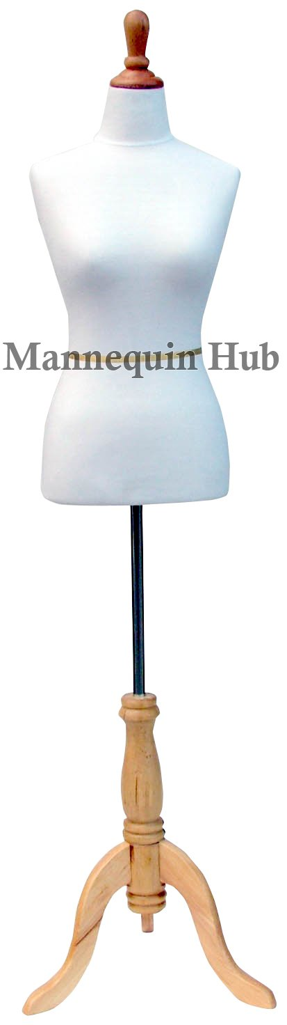 White Female Mannequin Dress Form Size 2-4 Small 33 24 34 (On Maple Tripod Stand) (French Series) Only Mannequins® f frnch w ntrl s