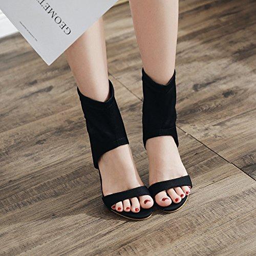 Ankle Heels Soirée Modèle Ouvert Stiletto Bout Womens Black De Linyi Chaussures fzEw55