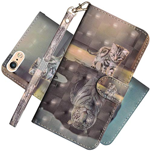 - EMAXELER iPhone 8 Case iPhone 7 Cover Colour Stylish 3D Full Protect Kickstand Flip Embossing Credit Cards Slot Pockets PU Leather Cover for iPhone 7 3D: Cat Tiger