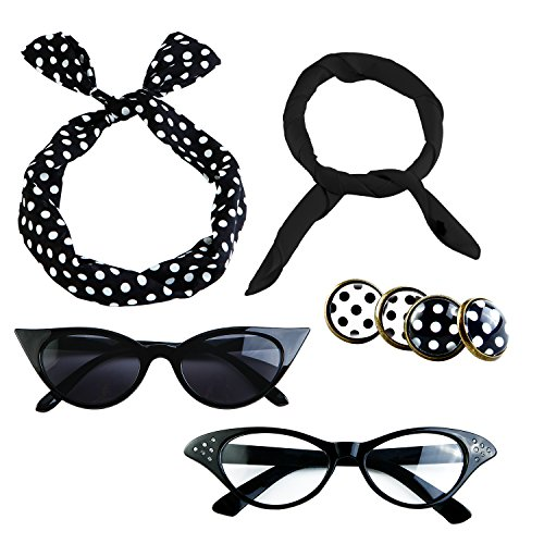 Aneco 6 Pack 50s Set Chiffon Scarf Cat Eye Glasses Bandana Tie Headband Earrings Black ()