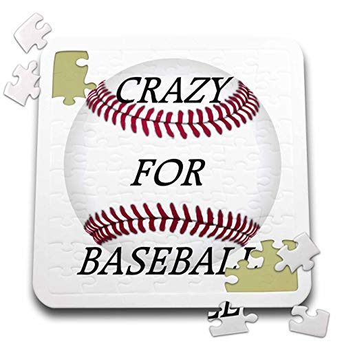 3dRose Lens Art by Florene - Crazy for - Image of Words Crazy for Baseball On Huge Baseball with Seams - 10x10 Inch Puzzle (pzl_318368_2)