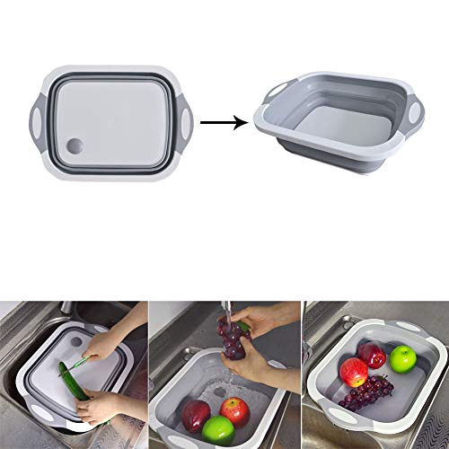 (Julvie Collapsible Cutting Board with Dish Tub,Colander Fruits Vegetables Wash and Drain Sink Storage Basket 3 in 1 Multifunctional Kitchen Gadget)