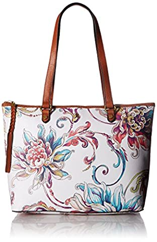 Elliott Lucca Ana Small Tote, White Wildflower - Elliott Lucca Leather Shoulder Bag
