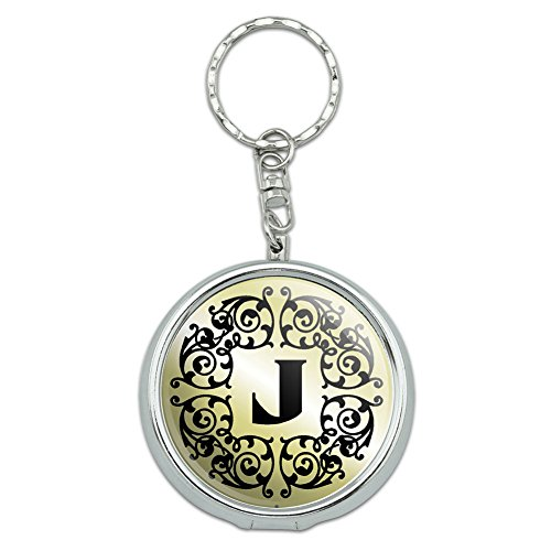 Graphics and More Portable Travel Size Pocket Purse Ashtray Keychain Letter Initial Black White - J Initial Black White Tan - Chrome Letter Tray