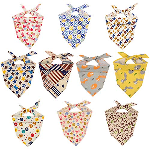 Bandanas - Washable and Reversible Triangle Cotton Dog Bibs Scarf Assortment Suitable for Puppy Small and Medium Pet ()