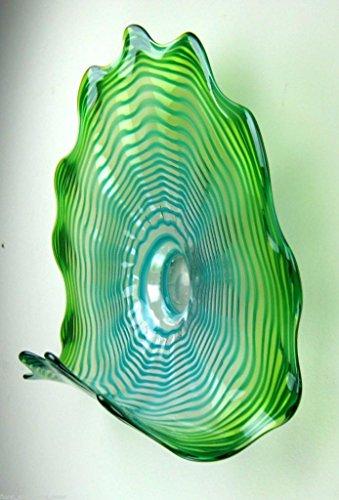23 Quot Hand Blown Art Glass Table Platter Plate Green Shelf W