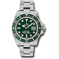 Rolex Oyster Perpetual 40MM Stainless Steel Submariner Date Rotatable Green Cerachrom Bezel and a Green Index Dial.