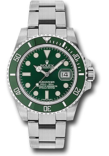 al 40MM Stainless Steel Submariner Date Rotatable Green Cerachrom Bezel And a Green Index Dial. ()