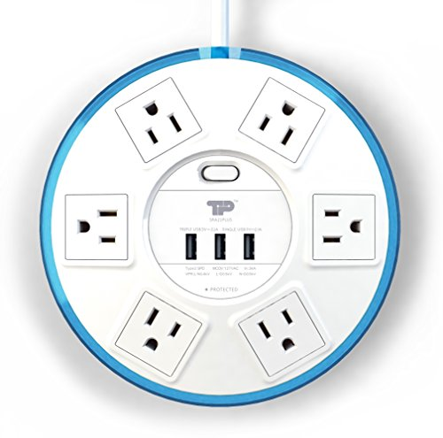 TP UFO Slim Design 6-Outlet Clear-Blue Round Power Center, 3 Quick Charging USB Ports, 4-Ft Heavy Duty Power Cord, Tabletop Surge Protector EMI-/RFI-Filter, for Home Office UL Listed (SRA21PLUS) by TP (Image #2)'