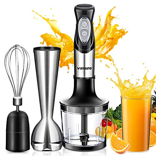 Villsure 4-in-1 Immersion Hand Blender, 2-Speed Controls Emulsion Blenders Set with 600ml Beaker, 600ml Chopper and Whisk, Stainless Steel & BPA-free, Anti-Splash,Kitchen Gadgets for Baby's Food (Black 4IN1 Set) ()