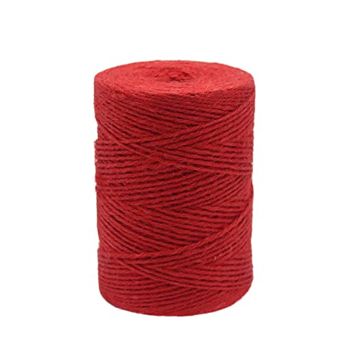 Vivifying 656 Feet Red Jute Twine, Natural 2mm Jute Cord for Crafts, Wrapping, Garden (Red)