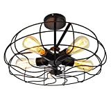 Ceiling Light, MKLOT Industrial Fan Style Wrought Iron Semi Flush Mount 18.11'' Wide Ceiling Pendant Light Chandelier with 5 Lights - Environmentally Ceramics Caps