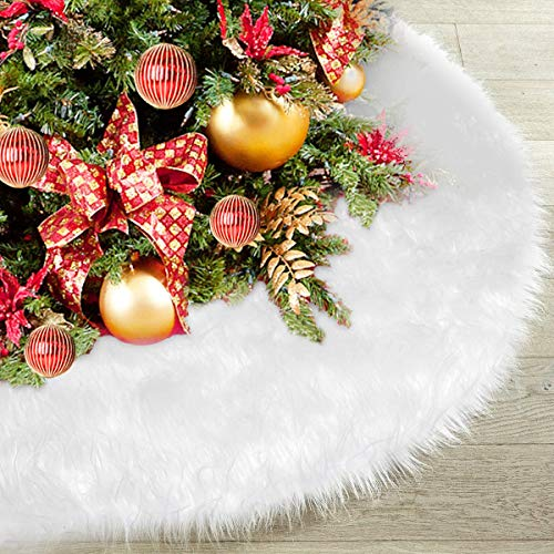 (Faux Fur Christmas Tree Skirt 48 inch, Elegant White Xmas Decorations for Festive Holiday Home Party Happy New Year Ornaments, Accessory for Floor Protection)