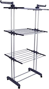 AYNEFY Clothes Drying Rack, Gray 69.6inch 3-Tier Foldable Laundry Airer with 4 Rolling Casters for Outdoors or Indoors Use