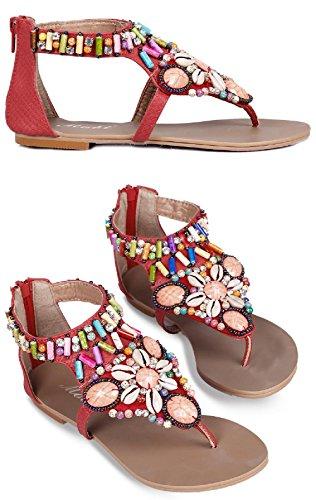 Sandals Flat D2C Women's Beach Beaded Bohemian Red Thong Beauty IrIqSwx0