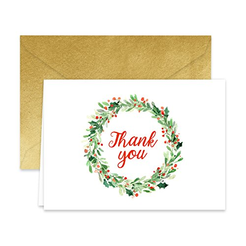 Wreath Note (Paper Frenzy Holiday Wreath Thank You Note Cards and Gold Shimmer Envelopes 25 pack)