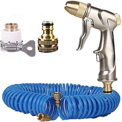 Kit de pistola de pulverización de boquilla de manguera de jardín, boquilla de agua de alta presión, antideslizante y resistente a los golpes para las plantas de riego, limpieza, lavado de coches,20m: