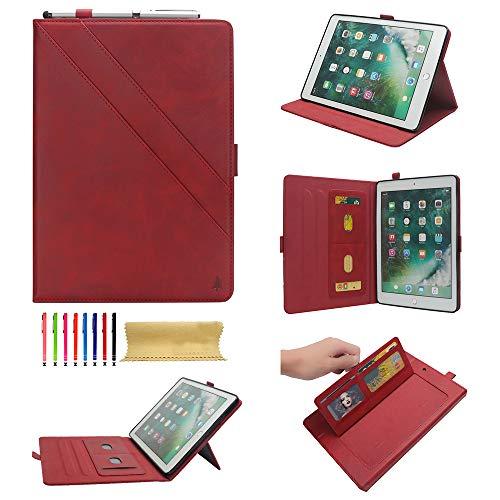 (Dteck iPad Mini 4/3/2/1 Case - Premium Leather Folio Stand Smart with Auto Sleep/Wake, Multiple View Angle, Card Slot Pocket Wallet Cover for Apple iPad Mini 4/Mini 3/Mini 2/Mini 1, Red)