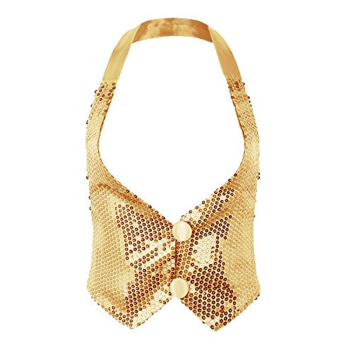 ACSUSS Women's Glitter Sequins Vest Sleeveless Halter Neck Shirts Tank Tops Gold One Size ()