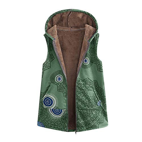 JOFOW Womens Flannel Lined Vest Sleeveless Jackets Boho Ethnic Totem Print Hooded Vintage Warm Padded Parka Coat Plus Size (XL =US:6-10,Green) (Vest Vintage Denim)