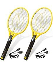 Electric Fly Swatter 2-Pack - Large Rechargeable Bug Zapper + Built-in Flashlight + USB Cables - 4200-Volt Tennis Racket with Safe to Touch Mesh Net - Kills Insects, Gnats, Mosquitoes, Flies - Camping