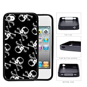 Pirate Skull And Crossbones B&W Rubber Silicone TPU Cell Phone Case Apple iPhone 4 4s