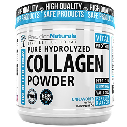 Collagen Protein Powder Peptides Bovine Premium Hydrolyzed Keto Supplement – Non GMO Grass Fed Pasture Raised Paleo Friendly Vital for Perfect Health Great for Skin Hair Easy to Mix Gluten Free 16oz