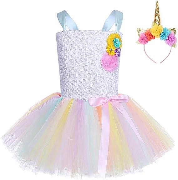 FONLAM Vestido de Princesa Fiesta Niña Disfraz de Unicornio ...