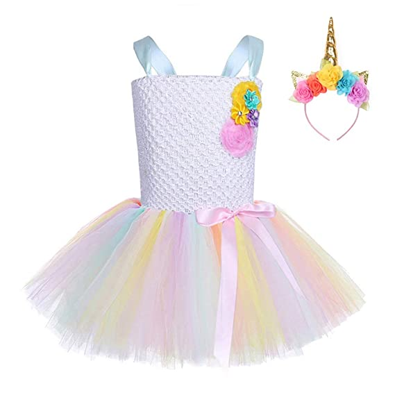 FONLAM Vestido de Princesa Fiesta Niña Disfraz de Unicornio Cumpleaños Tutú Vestido Infantil Boda Flores Carnaval Niña