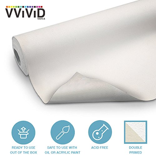 VViViD Double Primed Cotton Canvas 12'' Wide Roll Choose Your Size! (100ft x 12'' Roll) by VViViD