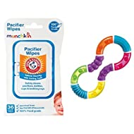 Munchkin 36 Pack Arm and Hammer Pacifier Wipes and Twisty Figure 8 Teether