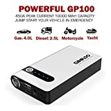 GOOLOO 450A Peak Car Jump Starter (Up to 4.0L Gas or 2.5L Diesel Engine) Portable Phone Charger Power Pack 12V Auto Battery Booster with LED Light and Multiple Protected Jumper Clamp, Black/White