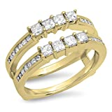 Dazzlingrock-Collection-090-Carat-ctw-14K-Yellow-Gold-Princess-White-Diamond-Ladies-Wedding-Guard-Double-Ring-