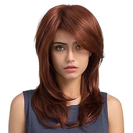 Mufly Peluca Mediana para Mujer Cabello Recto y Liso Marron Cabello Natural: Amazon.es: Belleza