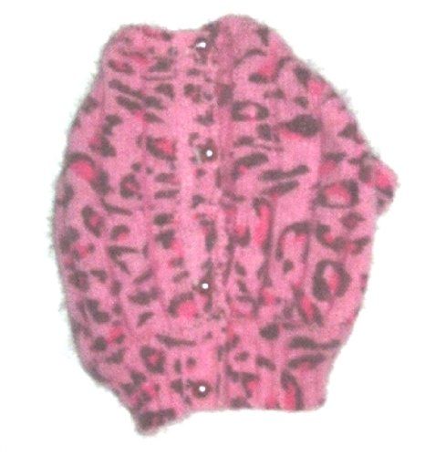 The Dog Squad Marilyn Button Back Cardi Pet Sweater, Medium, Light Pink Leopard