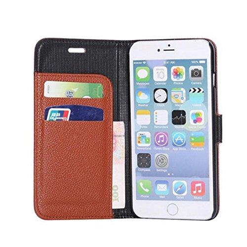 iPhone 6 Hülle,Apple iPhone 6 Hülle (4.7 Zoll) Lifetrut®[Litchi Braun] Flip Case mit lebenslanger Garantie + Kartenfächern & Standfunktion