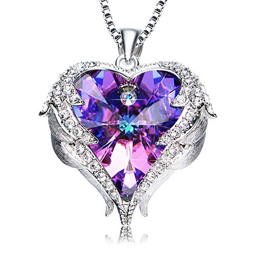 NEWNOVE Heart of Ocean Pendant Necklaces for Women Made with Swarovski Crystals (A_Purple and Blue1)
