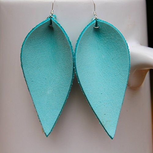 Tiffany Blue Genuine Leather Leaf Earrings//A New Grace//Joanna Gaines Inspired