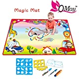 QMAY Large Aqua Doodle mat, Water Drawing Painting Pad Magic Doodle Board 2 Magic Water Pens & 9 Molds, Kids Learning Gift Educational Toy