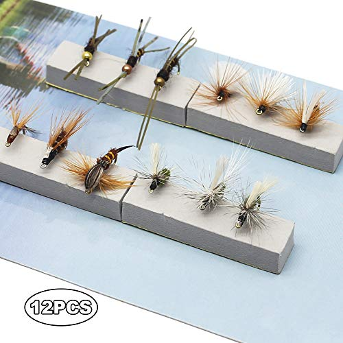 YZD Fly Fishing Trout Flies Kit 12pcs Fly Fishing Lure for Trout Premium Dry Wet Flies Streamer Nymph Mayfly Emerger Flys Trout Fly Fishing Gear Bait - Fly Fishing Mayfly